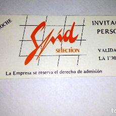 Coleccionismo Papel Varios: INVITACIÓN DISCOTECA SPIT RUTA DEL BACALAO. . Lote 114843919