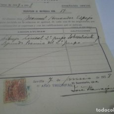 Coleccionismo Papel Varios: MATRÍCULA INSCRIPCIÓN ESCUELA BELLAS ARTES . SEVILLA II AÑO TRIUNFAL 1938. Lote 115302039