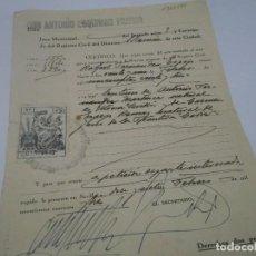 Coleccionismo Papel Varios: DOCUMENTO ANTIGUO DE REGISTRO CIVIL . SEVILLA AÑO 1948. Lote 115302527