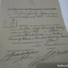 Coleccionismo Papel Varios: CERTIFICACIÓN DE NACIMIENTO EXTRACTADA. UTRERA.SEVILLA 1942. Lote 115302739