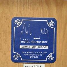 Coleccionismo Papel Varios: POSAVASOS...HOTEL RESTAURANTE CIUDAD DE BURGOS...BURGOS.... Lote 115362590