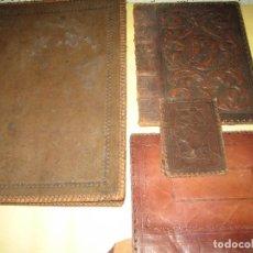 Coleccionismo Papel Varios: LOTE DE 4 FUNDAS PARA LIBRO EN PIEL REPUJADA . Lote 115426943