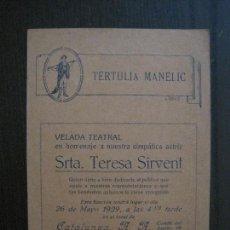 Coleccionismo Papel Varios: TERTULIA MANELIC -PROGRAMA- CATALUNYA A.A. -BARCELONA - ANYS 30 -VER FOTOS - (V-13.963). Lote 116368747