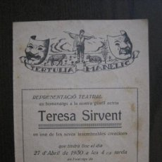 Coleccionismo Papel Varios: TERTULIA MANELIC -PROGRAMA- CATALUNYA A.A. -BARCELONA - ANYS 30 -VER FOTOS - (V-13.964). Lote 116368819