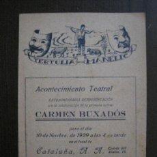 Coleccionismo Papel Varios: TERTULIA MANELIC -PROGRAMA- CATALUNYA A.A. -BARCELONA - ANYS 30 -VER FOTOS - (V-13.965). Lote 116368907