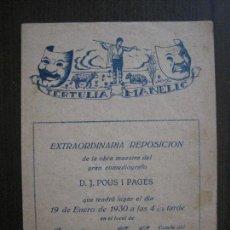 Coleccionismo Papel Varios: TERTULIA MANELIC -PROGRAMA- CATALUNYA A.A. -BARCELONA - ANYS 30 -VER FOTOS - (V-13.966). Lote 116368967