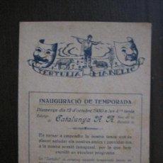 Coleccionismo Papel Varios: TERTULIA MANELIC -PROGRAMA- CATALUNYA A.A. -BARCELONA - ANYS 30 -VER FOTOS - (V-13.967). Lote 116369027