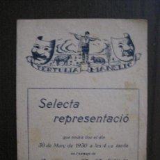 Coleccionismo Papel Varios: TERTULIA MANELIC -PROGRAMA- CATALUNYA A.A. -BARCELONA - ANYS 30 -VER FOTOS - (V-13.968). Lote 116369083