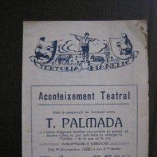 Coleccionismo Papel Varios: TERTULIA MANELIC -PROGRAMA- CATALUNYA A.A. -BARCELONA - ANYS 30 -VER FOTOS - (V-13.971). Lote 116369255