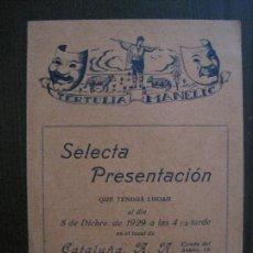 Coleccionismo Papel Varios: TERTULIA MANELIC -PROGRAMA- CATALUNYA A.A. -BARCELONA - ANYS 30 -VER FOTOS - (V-13.972). Lote 116369315