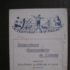 Coleccionismo Papel Varios: TERTULIA MANELIC -PROGRAMA- CATALUNYA A.A. -BARCELONA - ANYS 30 -VER FOTOS - (V-13.973). Lote 116369371
