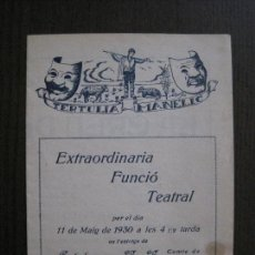 Coleccionismo Papel Varios: TERTULIA MANELIC -PROGRAMA- CATALUNYA A.A. -BARCELONA - ANYS 30 -VER FOTOS - (V-13.974). Lote 116369415
