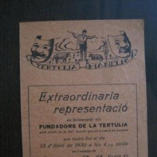 Coleccionismo Papel Varios: TERTULIA MANELIC -PROGRAMA- CATALUNYA A.A. -BARCELONA - ANYS 30 -VER FOTOS - (V-13.977). Lote 116369591