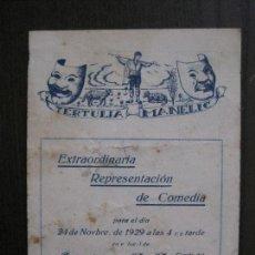 Coleccionismo Papel Varios: TERTULIA MANELIC -PROGRAMA- CATALUNYA A.A. -BARCELONA - ANYS 30 -VER FOTOS - (V-13.978). Lote 116369647