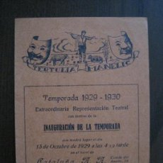 Coleccionismo Papel Varios: TERTULIA MANELIC -PROGRAMA- CATALUNYA A.A. -BARCELONA - ANYS 30 -VER FOTOS - (V-13.980). Lote 116369763