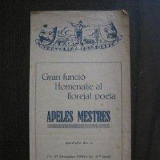 Coleccionismo Papel Varios: TERTULIA MANELIC -PROGRAMA- CATALUNYA A.A. -BARCELONA - ANYS 30 -VER FOTOS - (V-13.982). Lote 116369919