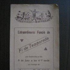 Coleccionismo Papel Varios: TERTULIA MANELIC -PROGRAMA- CATALUNYA A.A. -BARCELONA - ANYS 30 -VER FOTOS - (V-13.983). Lote 116370007
