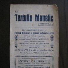 Coleccionismo Papel Varios: TERTULIA MANELIC -PROGRAMA- CATALUNYA A.A. -BARCELONA - ANYS 30 -VER FOTOS - (V-13.985). Lote 116370135
