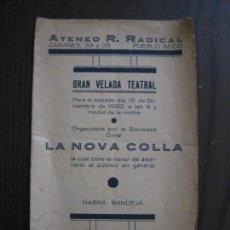 Coleccionismo Papel Varios: ATENEO R. RADICAL -PROGRAMA -BARCELONA - ANYS 30 -VER FOTOS - (V-13.984). Lote 116370295