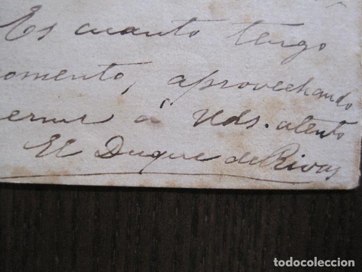 ENRIQUE RAMIREZ DE SAAVEDRA -DUQUE DE RIVAS - AUTOGRAFO FIRMA- CARTA AÑO 1881 -VER FOTOS-(V-14.062) (Coleccionismo en Papel - Varios)