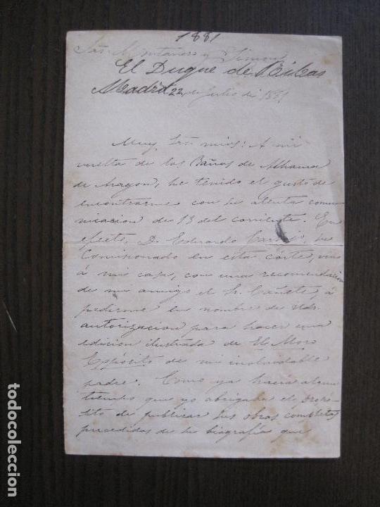 Coleccionismo Papel Varios: ENRIQUE RAMIREZ DE SAAVEDRA -DUQUE DE RIVAS - AUTOGRAFO FIRMA- CARTA AÑO 1881 -VER FOTOS-(V-14.062) - Foto 2 - 116476363