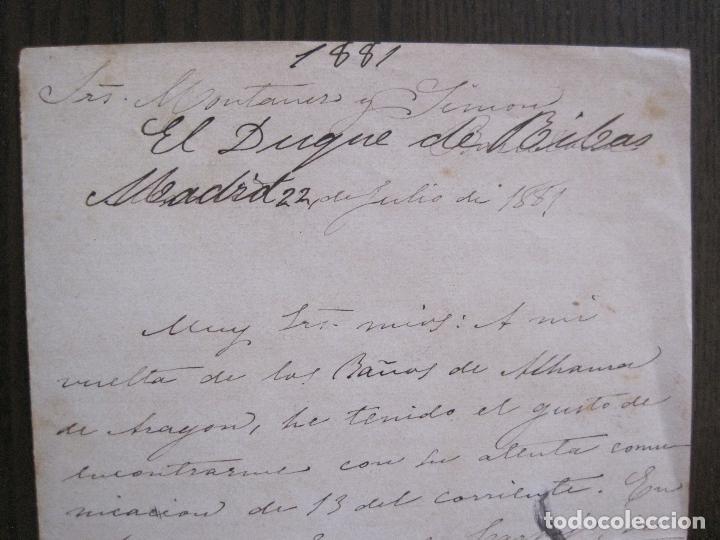 Coleccionismo Papel Varios: ENRIQUE RAMIREZ DE SAAVEDRA -DUQUE DE RIVAS - AUTOGRAFO FIRMA- CARTA AÑO 1881 -VER FOTOS-(V-14.062) - Foto 3 - 116476363