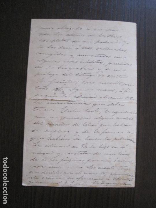 Coleccionismo Papel Varios: ENRIQUE RAMIREZ DE SAAVEDRA -DUQUE DE RIVAS - AUTOGRAFO FIRMA- CARTA AÑO 1881 -VER FOTOS-(V-14.062) - Foto 10 - 116476363