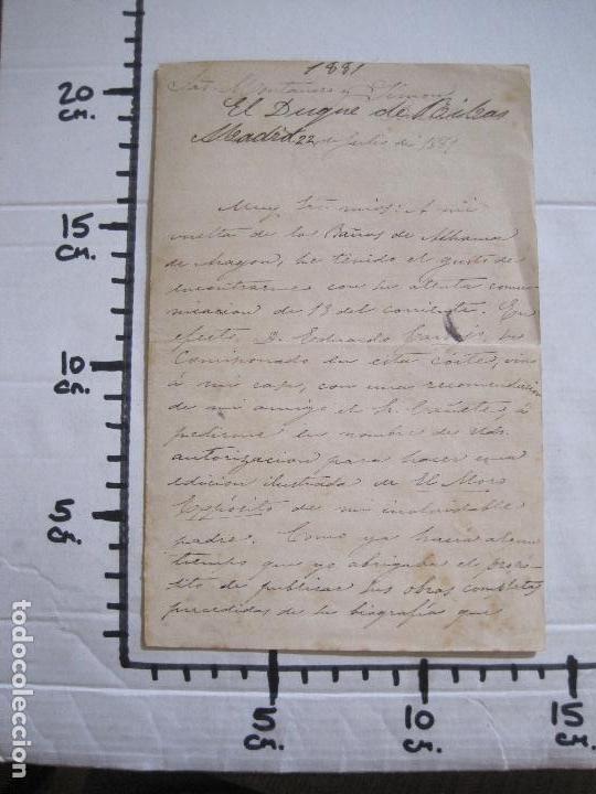 Coleccionismo Papel Varios: ENRIQUE RAMIREZ DE SAAVEDRA -DUQUE DE RIVAS - AUTOGRAFO FIRMA- CARTA AÑO 1881 -VER FOTOS-(V-14.062) - Foto 14 - 116476363