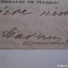 Coleccionismo Papel Varios: CARMEN DE BURGOS- COLOMBINE - AUTOGRAFO FIRMA- TARJETA -VER FOTOS-(V-14.070). Lote 116478879