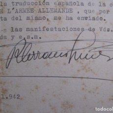 Coleccionismo Papel Varios: RAMON SERRANO SUÑER - AUTOGRAFO FIRMA- AÑO 1942 -VER FOTOS-(V-14.088). Lote 116481563