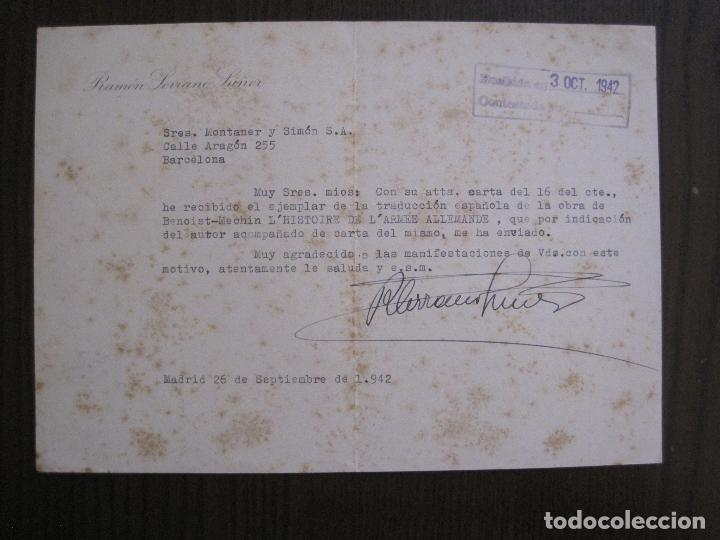 Coleccionismo Papel Varios: RAMON SERRANO SUÑER - AUTOGRAFO FIRMA- AÑO 1942 -VER FOTOS-(V-14.088) - Foto 3 - 116481563