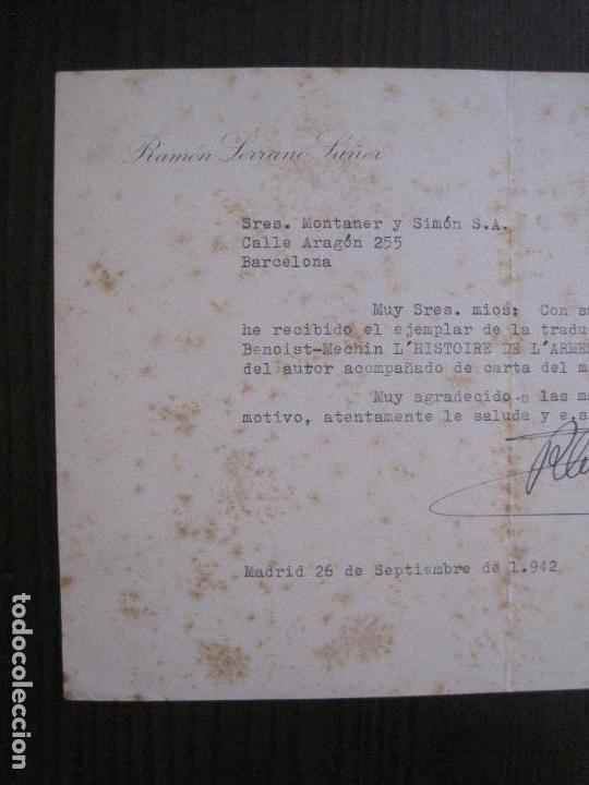 Coleccionismo Papel Varios: RAMON SERRANO SUÑER - AUTOGRAFO FIRMA- AÑO 1942 -VER FOTOS-(V-14.088) - Foto 4 - 116481563