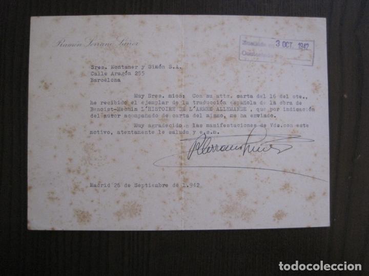 Coleccionismo Papel Varios: RAMON SERRANO SUÑER - AUTOGRAFO FIRMA- AÑO 1942 -VER FOTOS-(V-14.088) - Foto 6 - 116481563