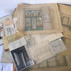 Coleccionismo Papel Varios: IMPORTANTE LOTE DE 63 DIBUJOS Y ACUARELAS MAS FOTOGRAFÍAS DE INTERIORISMO 1920'S.. Lote 116504663