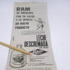 Coleccionismo Papel Varios: RECORTE PUBLICIDAD AÑOS 60/70 - LECHE DESCREMADA RAM. Lote 116850203