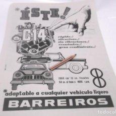 Coleccionismo Papel Varios: RECORTES PUBLICIDAD AÑOS 60 - AUTOMOVIL BARREIROS. Lote 117591547