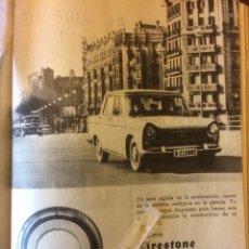 Coleccionismo Papel Varios: PUBLICIDAD NEUMÁTICOS FIRESTONE DE 1962 SEAT 1400. Lote 144256818