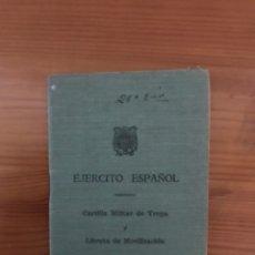 Coleccionismo Papel Varios: ANTIGUA CARTILLA MILITAR DE TROPA Y LIBRETA DE MOVILIZACIÓN DEL EJERCITO ESPAÑOL. Lote 118048376