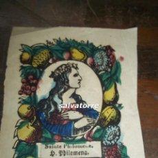 Coleccionismo Papel Varios: SANTA FILOMENA. PEQUEÑO GRABADO COLOREADO.PRINCIPIOS DEL XIX. Lote 118078023