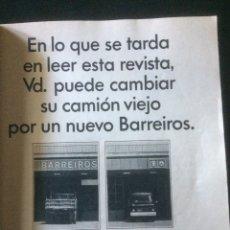 Coleccionismo Papel Varios: PUBLICIDAD CAMIÓN BARREIROS DE 1967. Lote 118272836