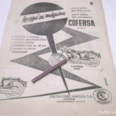 Coleccionismo Papel Varios: RECORTE PUBLICIDAD AÑOS 50/60 - MOTO COFERSA 1957. Lote 118314119