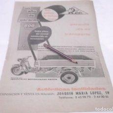 Coleccionismo Papel Varios: RECORTE PUBLICIDAD AÑOS 50/60 - MOTO ROA. Lote 118314135