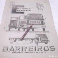 Coleccionismo Papel Varios: RECORTE PUBLICIDAD AÑOS 50/60 - CAMIONES BARREIROS. Lote 118341747