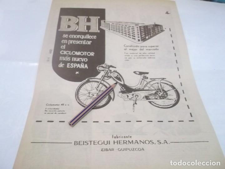 RECORTE PUBLICIDAD AÑOS 50/60 - MOTO .CICLOMOTOR BH - BEISTEGUI HNOS. -- EIBAR (Coleccionismo en Papel - Varios)