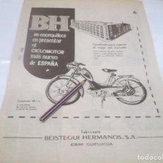 Coleccionismo Papel Varios: RECORTE PUBLICIDAD AÑOS 50/60 - MOTO .CICLOMOTOR BH - BEISTEGUI HNOS. -- EIBAR. Lote 118380315