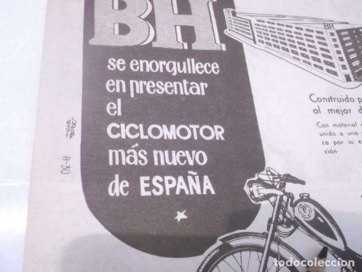Coleccionismo Papel Varios: RECORTE PUBLICIDAD AÑOS 50/60 - MOTO .CICLOMOTOR BH - BEISTEGUI HNOS. -- EIBAR - Foto 3 - 118380315