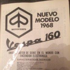Coleccionismo Papel Varios: PUBLICIDAD MOTO VESPA DE 1968. Lote 118399212