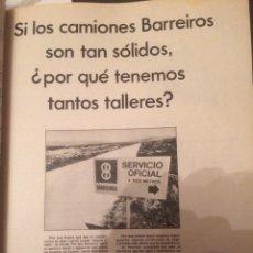 Coleccionismo Papel Varios: PUBLICIDAD CAMIÓN BARREIROS DE 1967. Lote 118399816