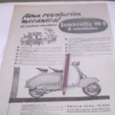 Coleccionismo Papel Varios: RECORTE PUBLICIDAD AÑOS 50/60 - MOTO VESPA LAMBRETA 150 II. Lote 118409963