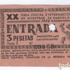 Coleccionismo Papel Varios: (ALB-TC-21) ENTRADA XX FERIA OFICIAL E INTERNACIONAL DE MUESTRAS EN BARCELONA 1952. Lote 118418947
